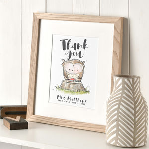 Personalised Owl Thank You Print