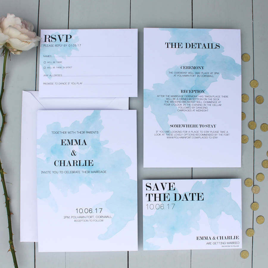 watercolour spill wedding save the date card by beija flor studio – Wedding Save the Date Card