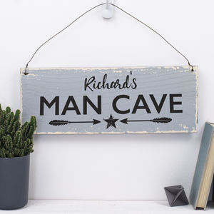Personalised Wooden Man Cave Sign - art & decorations