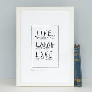 Friendship Art Print 'Live Every Moment'