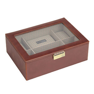 Mens Tan 8pc Watch Box - watch storage