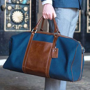 Canvas/Leather Medium Luggage Bag.'The Giovane M'