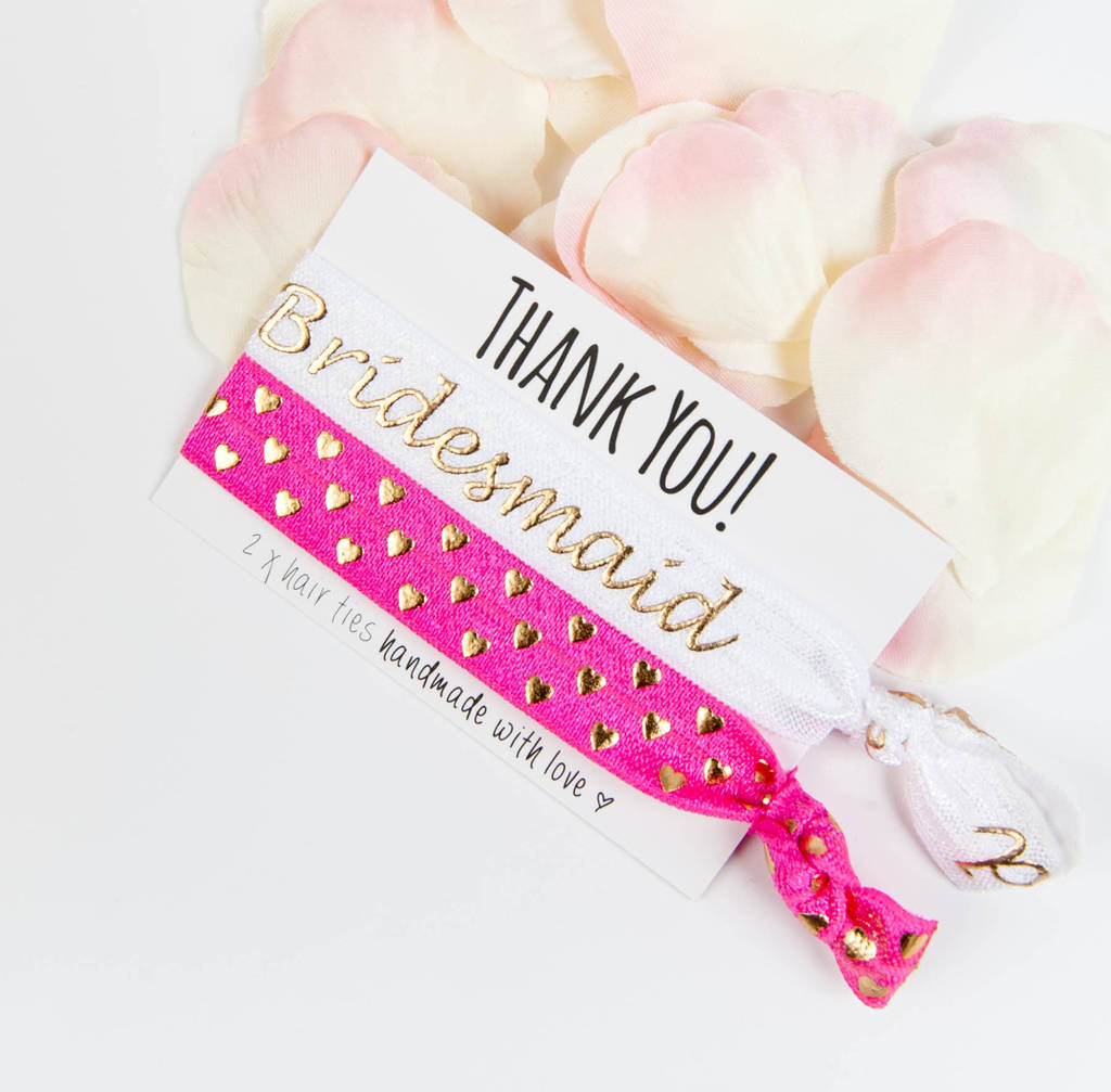 thank you bridesmaid handmade hair ties by team hen ...