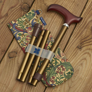 Bronze Walking Stick With William Morris Storage Bag
