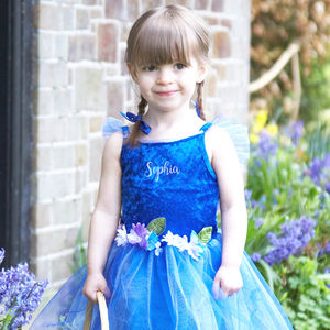 Blue Flower Fairy Dress Personalised