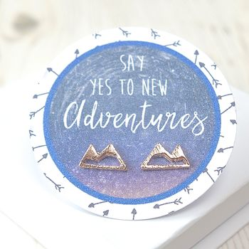 Motivational Mountains Rose Gold Stud Earrings