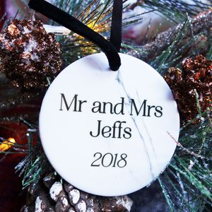 Mr And Mrs Christmas Marble Decoration Keepsake