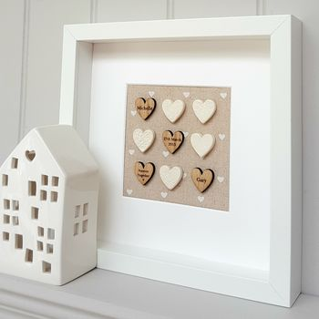 Handmade Engagement Pottery Love Hearts Artwork