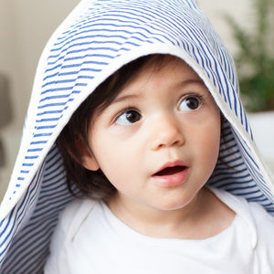 Hooded Muslin Baby Shawl Navy Stripe