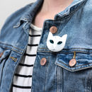 White Cat Brooch
