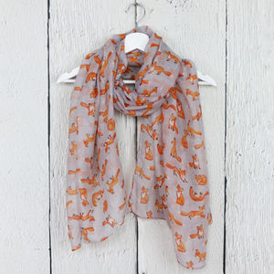 Little Fox Print Scarf - scarves