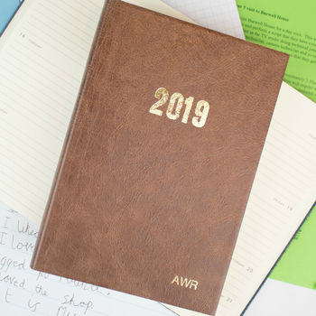 2020 Diary, Personalised Diary In Leather With Planner