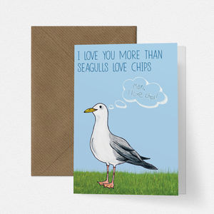 Greedy Seagull Love Card