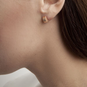 Single Semi Circle Disc Stud Earring - earrings