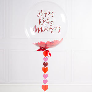 Personalised Ruby Anniversary Bubble Balloon - 40th anniversary: ruby