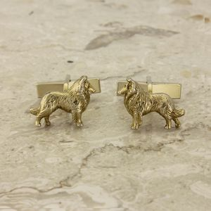 Border Collie Cufflinks In Gold On Silver