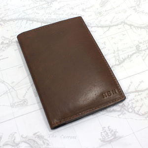 Vintage Personalised Leather Passport Cover