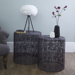 Grey Nesting Side Tables Set Of Two - furniture