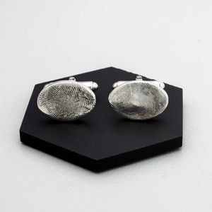 Fingerprint Wedding Cufflinks - men's jewellery