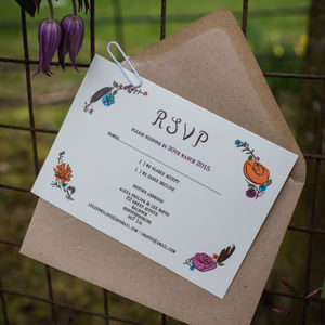Flora And Fauna Vintage Wedding RSVP Cards - black friday sale