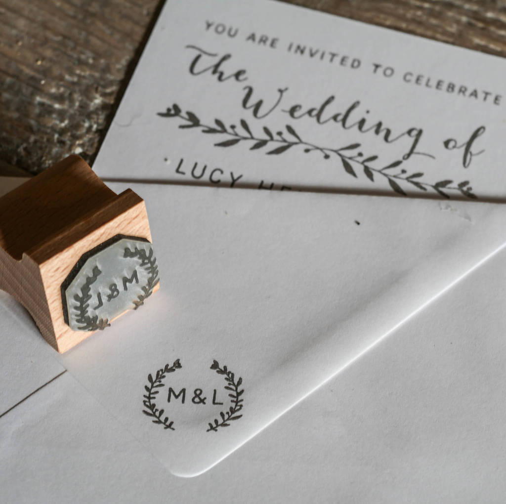 wedding invitation stamp with natural sprig by english stamp company