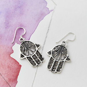 Hamsa Silver Drop Earrings - earrings