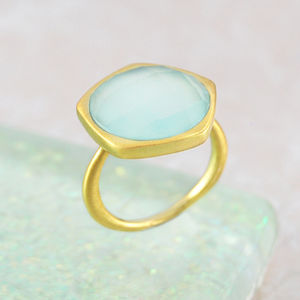 Aqua Chalcedony Gold Semi Precious Ring - rings