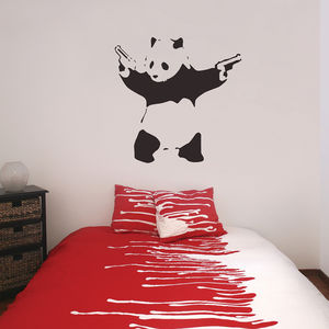 Banksy Panda Wall Stickers - bedroom