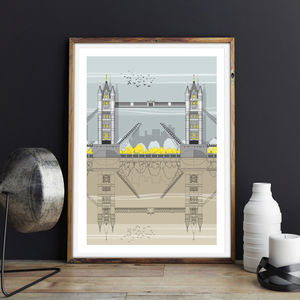 Tower Bridge Architectural Illustration Print
