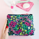 Makeup Bag In Forest Floral Illustrated Pattern