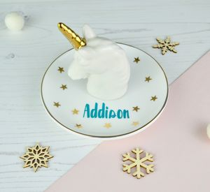 Personalised Unicorn And Star Jewellery Dish - bedroom
