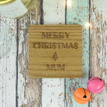 Merry Christmas Mum Personalised Engraved Coaster