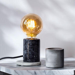 Black Marble Table Lamp With Bulb - table lamps