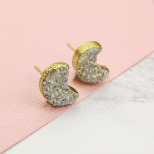 Druzy Moon Stud Earrings - stylish studs