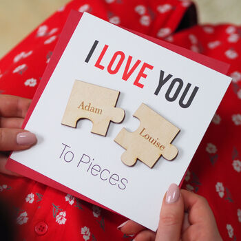Personalised 'I Love You To Pieces' Magnets Card