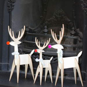 Decorative Wooden Reindeer Family