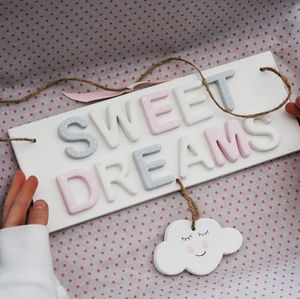 Sweet Dreams Nursery Sign Door Plaque With Happy Cloud