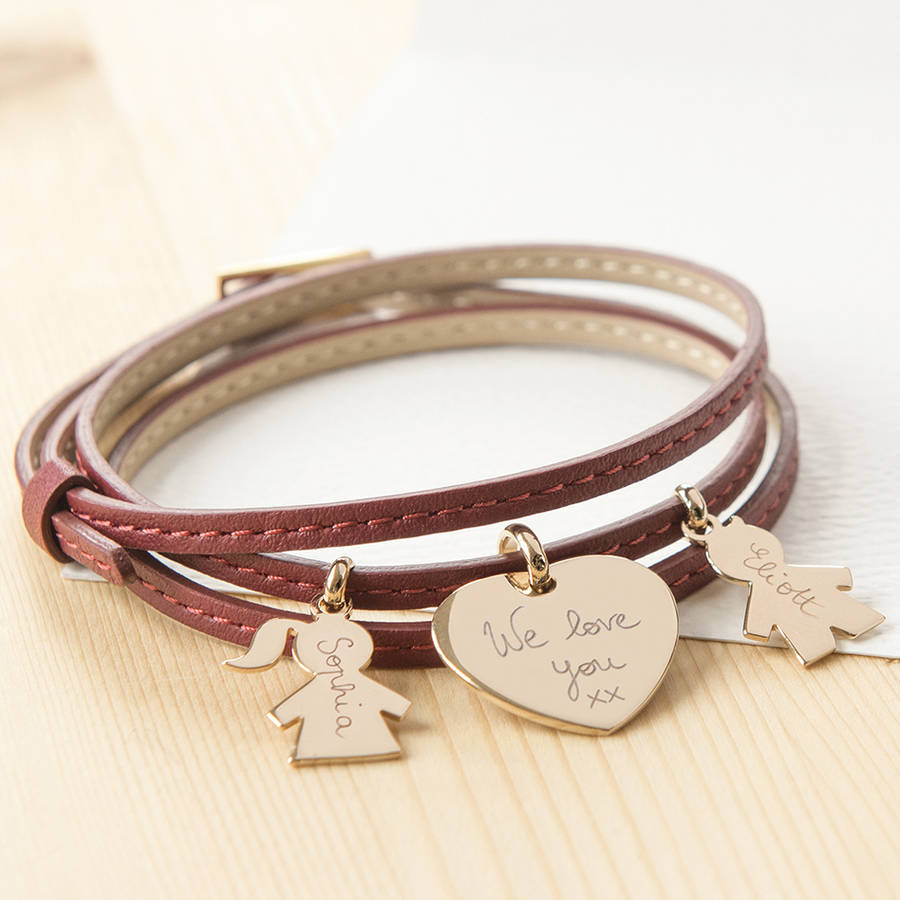 Leather Wrap Bracelet With Charms: Personalised Leather Wrap Charm Bracelet By Merci Maman