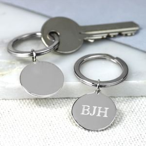 Initial Silver Keyring - gifts for him