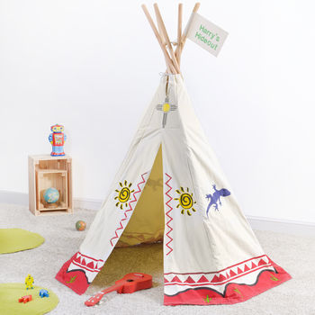 Canvas Tipi Play Tent And Personalised Flag