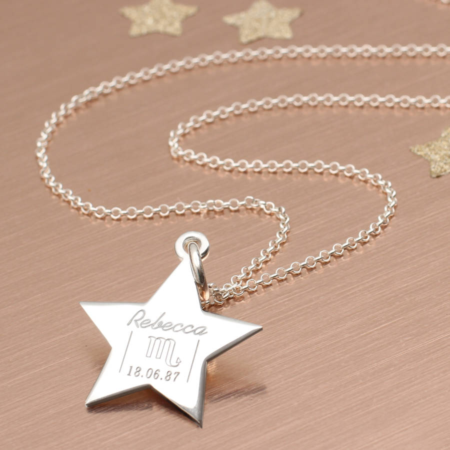 Personalised sterling silver zodiac star pendant by hurleyburley personalised sterling silver zodiac star pendant mozeypictures Image collections