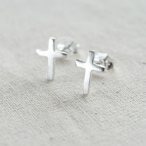 Sterling Cross Earrings - first holy communion gifts