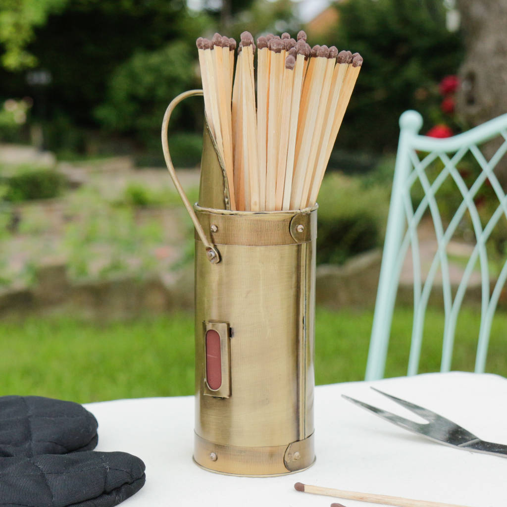 antique brass extra long fireside matches and holder by dibor