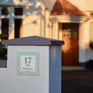 Personalised Anniversary Floral House Number Gift
