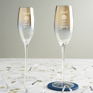 Personalised Special Age Metallic Champagne Flute