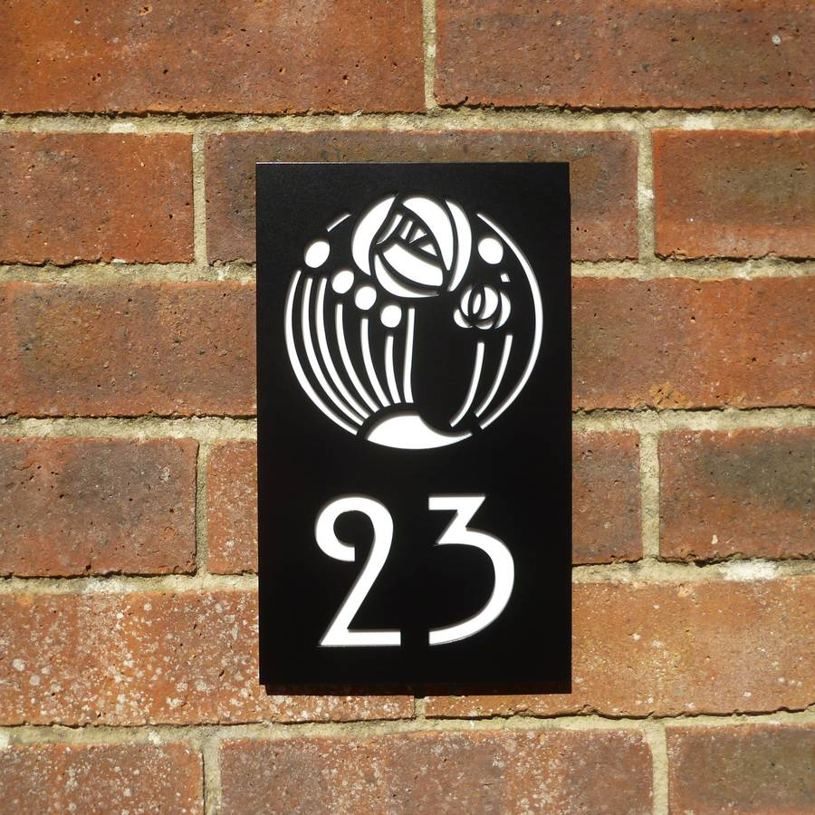Black Mackintosh Rose House Number Plaque By Housebling