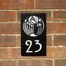 Black Mackintosh Rose House Number Plaque