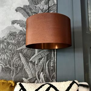 Gold Or Copper Lined Lampshade In Tobacco - lamp bases & shades
