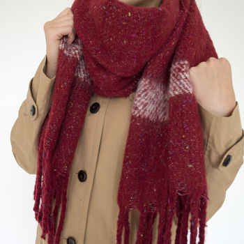 Embroidered Women's Winter Blanket Scarf