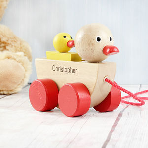 Personalised Duck And Duckling Pull Along Toy